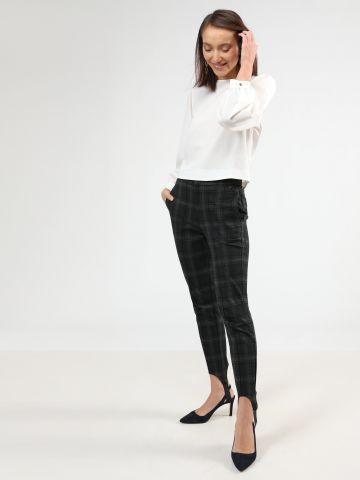 מכנסיים מחויטים בהדפס משבצות עם רצועות גומי