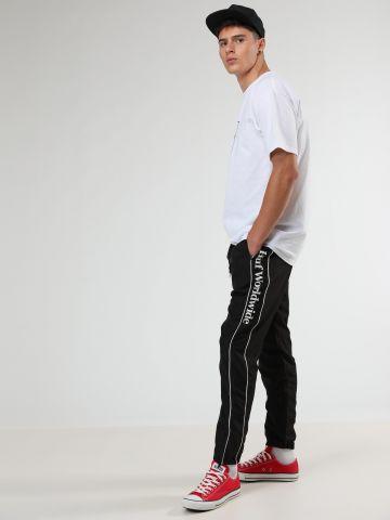 מכנסי טראק ניילון פאנל לוגו