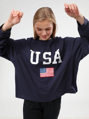 טי שירט שרוולים ארוכים USA