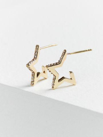 עגילים נצמדים בצורת כוכב זהב משובץ אבני חן UO