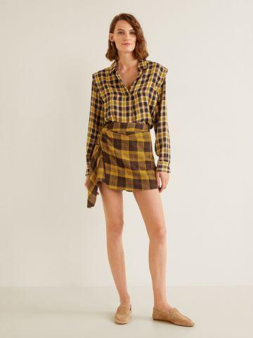 מכנסי חצאית צמר קצרים בהדפס משבצות