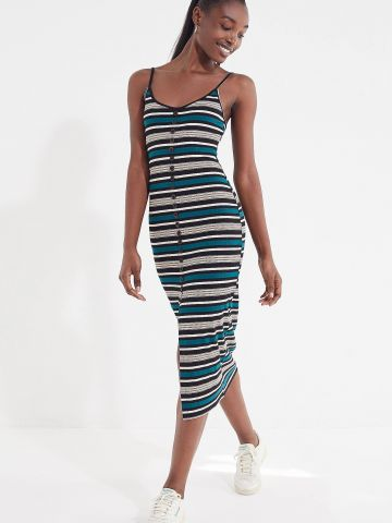 שמלת מידי ריב פסים עם כפתורים UO