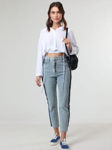 ג'ינס Mom קרופ עם תפרים פרומים