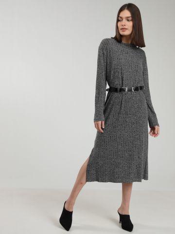שמלת מידי ריב שרוולים ארוכים של TERMINAL X
