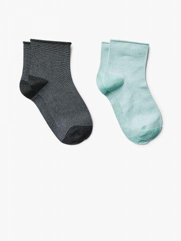 מארז 2 זוגות גרביים פסים מטאליים / נשים