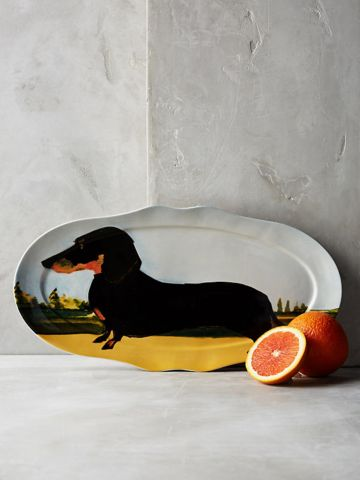 צלחת הגשה אליפטית בהדפס כלב