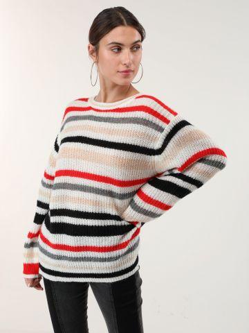 סוודר אוברסייז פסים צבעוניים