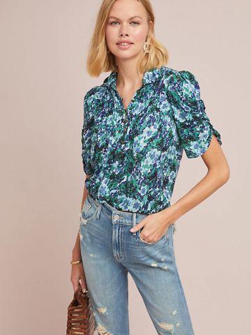חולצה מכופתרת בהדפס פרחים עם שרוולים נפוחים