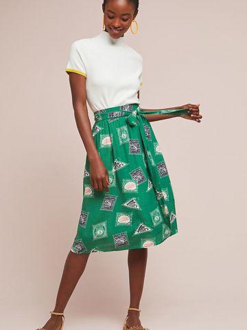 חצאית מידי בהדפס בולים עם חגורת קשירה