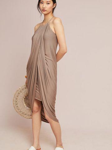 שמלת מידי אסמיטרית עם קפלי בד