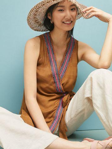 חולצת טוניקה מעטפת עם עיטורי רקמה צבעוניים