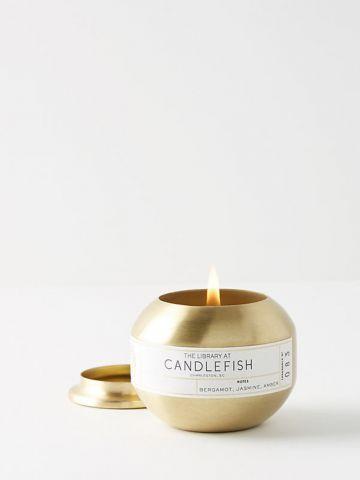 נר ריחני עגול בגימור מוזהב 83 Candlefish