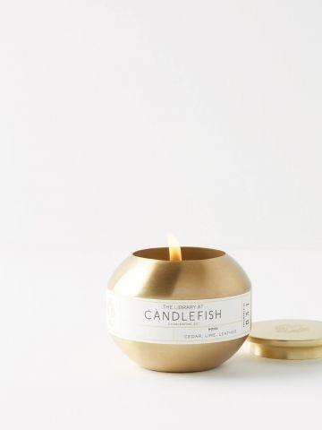 נר ריחני עגול בגימור מוזהב 31 Candlefish