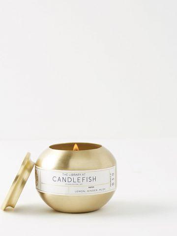 נר ריחני עגול בגימור מוזהב 30 Candlefish