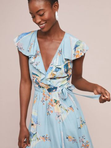 שמלת מעטפת מידי בהדפס פרחים וציפורים