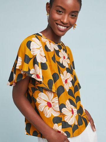 חולצה בהדפס פרחים וינטאג' עם שרוולי מלמלה