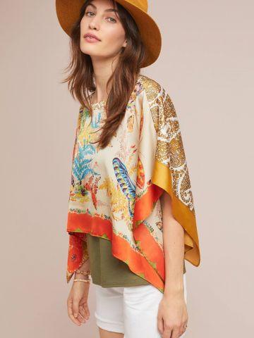 חולצת עליונית בהדפס ג'ונגל צבעוני
