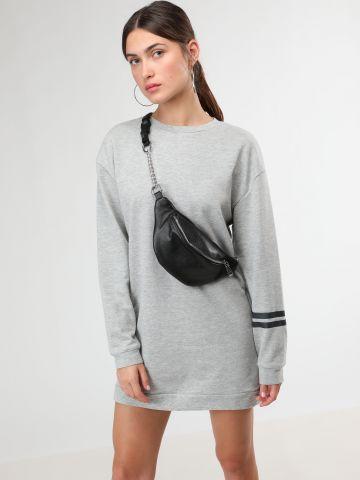 שמלת סווטשירט מיני עם הדפס איקס