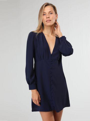 שמלת מיני וי עם כפתורי בד