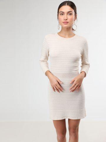 שמלת מיני סריג עם שרוולים ארוכים