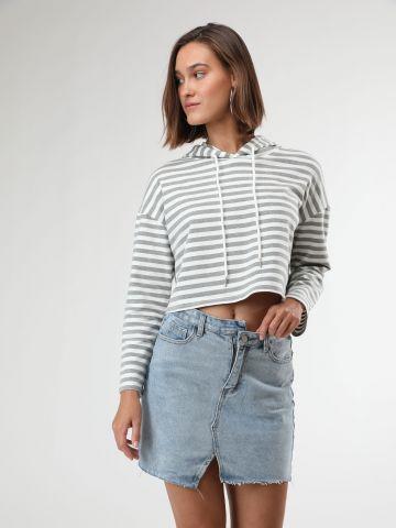 חצאית ג'ינס מיני אסימטרית