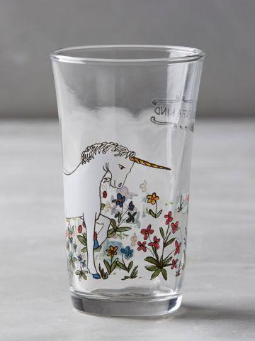 כוס זכוכית לשתייה קרה בהדפס יוניקורן Molly Hatch