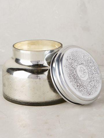 נר ריחני גדול בכוס זכוכית באפקט מטאלי Silver Volcano
