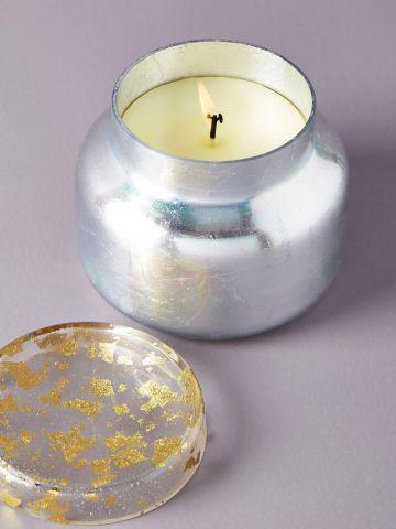 נר ריחני בכוס זכוכית באפקט מטאלי Champagne