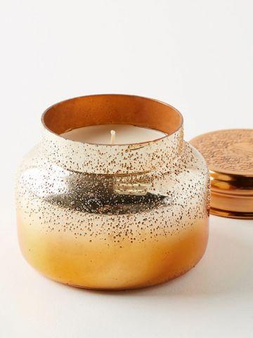 נר ריחני בכוס זכוכית באפקט אומברה מטאלי Pumpkin Clove