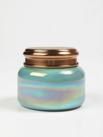 נר ריחני בכוס זכוכית באפקט פנינה צבעוני Capri