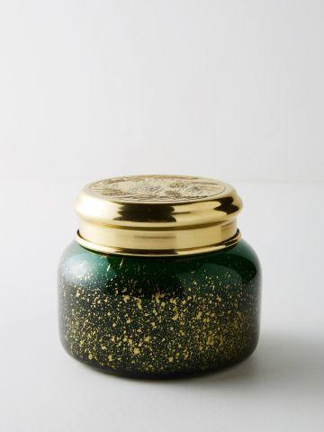 נר ריחני בכוס זכוכית באפקט מטאלי Fir & Firewood