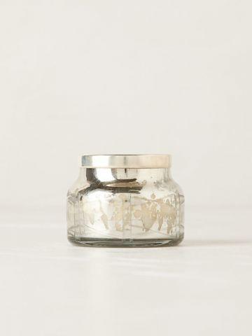 נר ריחני בכוס זכוכית באפקט מטאלי Silver Volcano