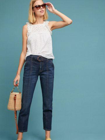 ג'ינס בגזרה ישרה עם חגורה נלווית