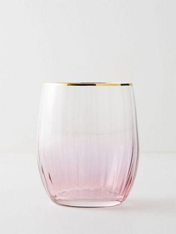 כוס יין נמוכה מקריסטל צבעוני עם שפה מוזהבת