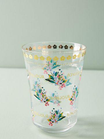 כוס זכוכית לשתייה קרה עם עיטורי פרחים