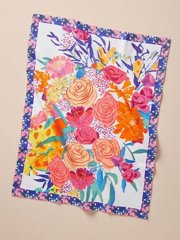מגבת מטבח בהדפס פרחים