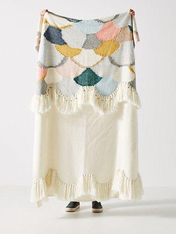 שמיכה גדולה דקורטיבית צבעונית בסגנון גלים