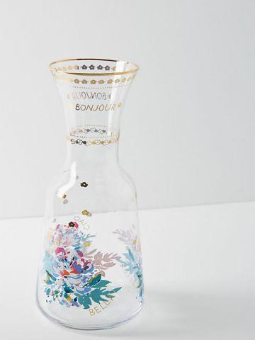 קראף זכוכית עם הדפס פרחים ועיטורי זהב