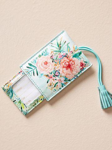 תג למזוודה בהדפס פרחים