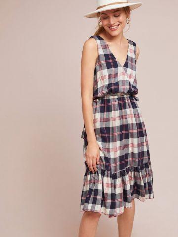 שמלת מידי בהדפס משבצות עם סיומת פפלום