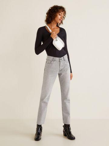 ג'ינס קרופ בגזרה ישרה מכותנה אורגנית