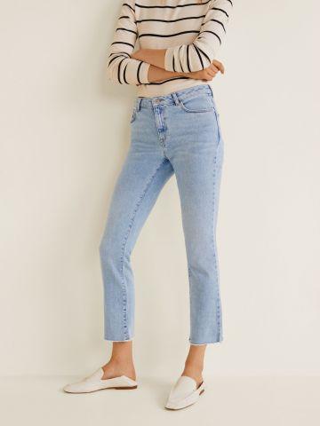 ג'ינס קרופ ישר בשטיפה בהירה