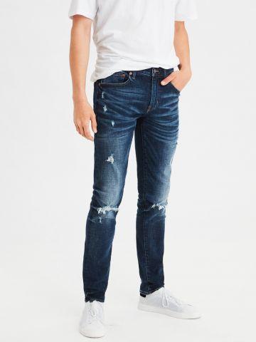ג'ינס סקיני ווש עם קרעים Slim Taper