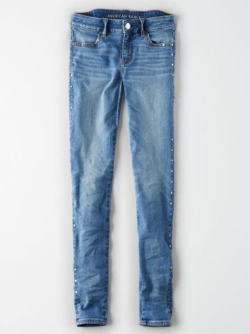 ג'ינס סקיני עם ניטים כסופים Jegging / נשים