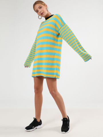 שמלת סוודר מיני בהדפס פסים