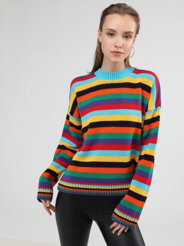 סוודר פסים מולטי קולור