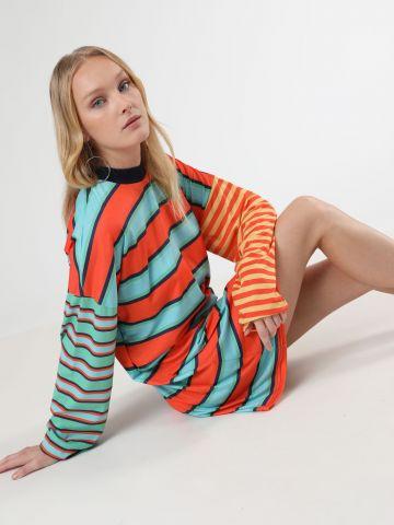 שמלת טי שירט מיני אוברסייז פסים עם שרוולים ארוכים