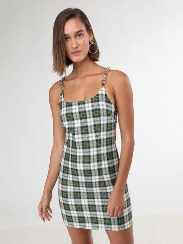 שמלת מיני משבצות עם כתפיות שרשרת