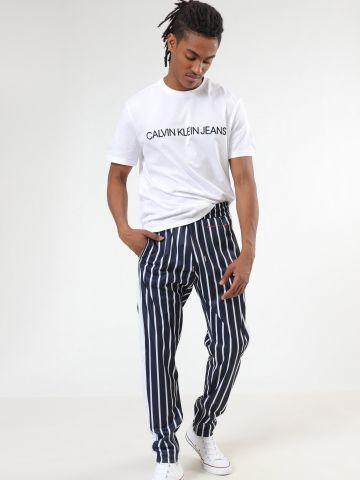 מכנסי טראק בהדפס פסים עם רוכסנים