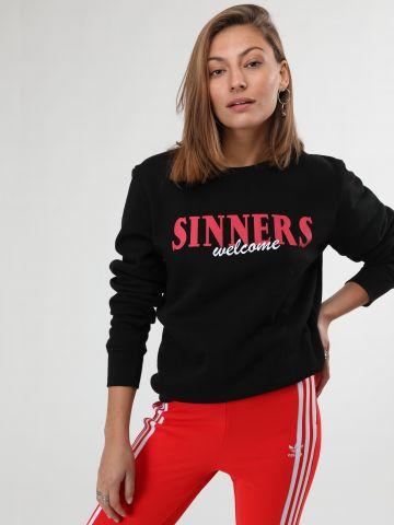 סווטישירט עם הדפס כיתוב Sinners Welcome
